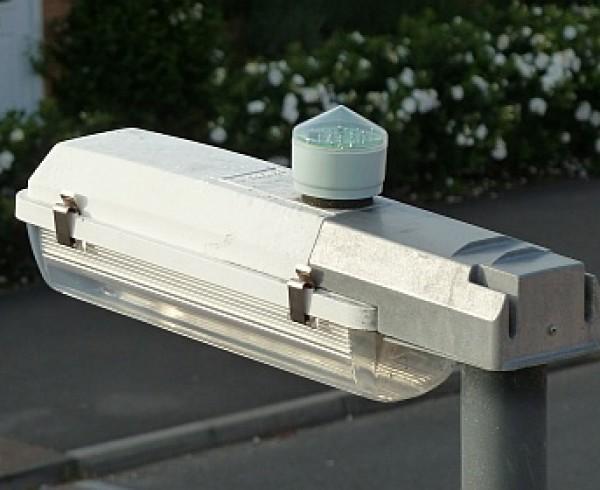 Bradley Stoke street light, showing photocell on top of lamp unit.